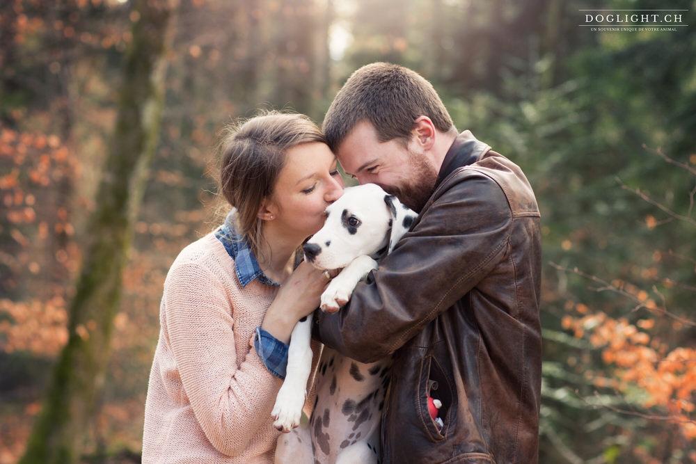 couple saint-valentin cadeau séance photo animaux amour