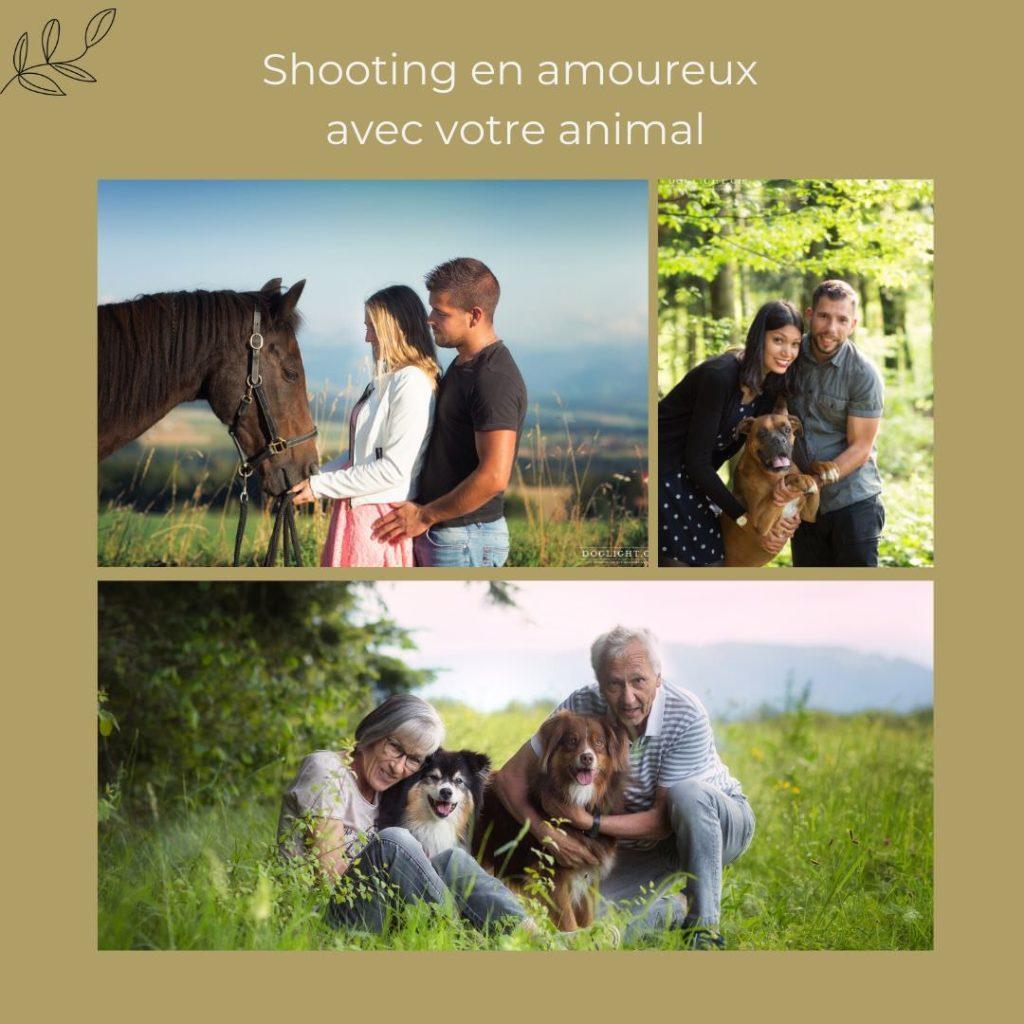 Shooting couple avec un animal pour la Saint-Valentin